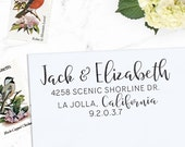 Custom Address Stamp, Return Address Stamp, Wedding address stamp, Calligraphy Address Stamp, Self inking or Eco Mount stamp  - Elizabeth