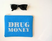 Drug Money Bunny Clutch Screenprint Zipper Smartphone Purse Festival Psychedelic Accessories