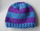 Stripey Adult Beanie Hat in Sky Blue and Lavender Purple - Made to Order
