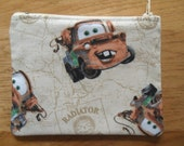 """CARS - 5"""" Zippered Pouch - Lined  - Radiator Springs - Lightning McQueen - Change Purse"""