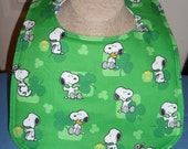 "Bib - Snoopy - Shamrocks - Absorbent - Reversible -  11"" x 14"" - Snap Closure - St Patricks"