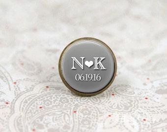 Lapel Pin, Tie Tack, Custom Brooch Pin, Wedding Pin, Groom Boutonniere Pin, Personalized Lapel Pin
