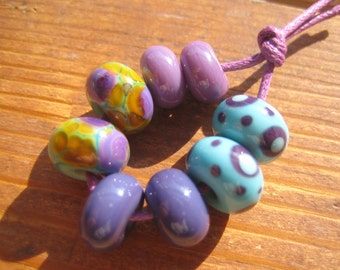 Perfect Pairs, Turquoise and Purple Lampwork Glass Beads, SRA, UK Seller, UK Lampwork, Earrings Pairs