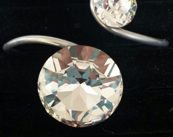 Swarovski crystals and aluminum bracelet cuff