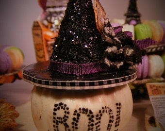 12th Scale Doll House Spooky Halloween Witches Hat Pumpkin