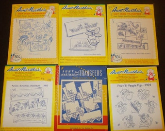 Inventory 69 Mixed Lot of Aunt Marthas Hot Iron Transfers 6 Packages Vintage Iron On Transfers