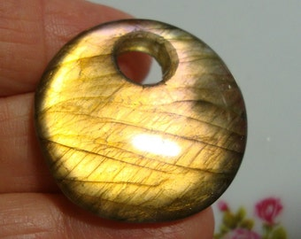 AAA, Spectacular Flashing Purple Gold Labradorite Smooth Large Hole Round Pendant, 30mm, a7-10