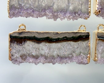 Amethyst Slice 24k Gold Electroplated Double Bail Pendant, Handmade Druzy Drusy Pendant Findings, 40mm - m12
