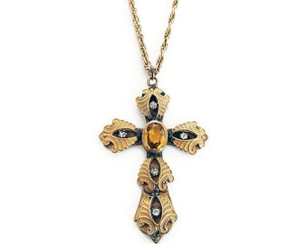 Victorian Cross Gold Plated Glass Gemstone - Vintage Cross, Citrine Topaz Glass, Christian Cross, Religious Jewelry, Vintage Necklace