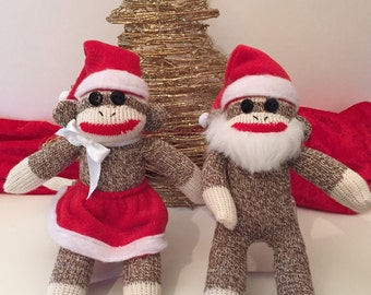 Mr and Mrs Santa Claus Sock Monkey, Christmas Monkey, Decorations, Stocking Stuffer, Grab Bag Gift, Co-worker, Christmas