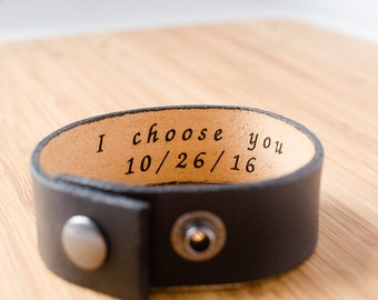 Minimal Black Leather Cuff with Custom Secret Message Hidden Inside