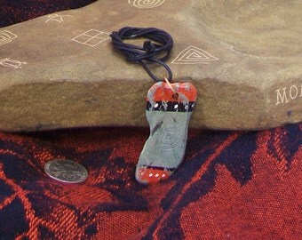 Tribal slate stone pendant-necklace-2