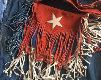 1970's American Flag Handbag / fringe hippie purse / red white and blue suede leather medium sized bag / haute hippie / hipster / 1960's