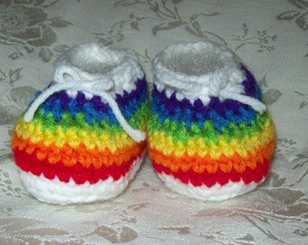 Rainbow Baby Shoes  3-6 Months Or 6-12 Months Crochet Baby Booties