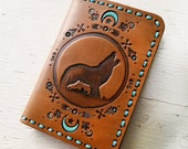 Leather Passport Cover - Wolf Moon - Southwestern Inspired Passport Wallet - Turquoise Crescent Moon - Made to Order - Travel Gift