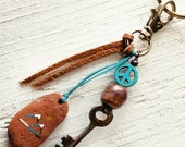 Bohemian Zipper Pull - Southwestern Mountain Key Fob Clip - Skeleton Key, Wooden Beads, Leather, Suede, Sea Tumbled Stones - Ready to Ship