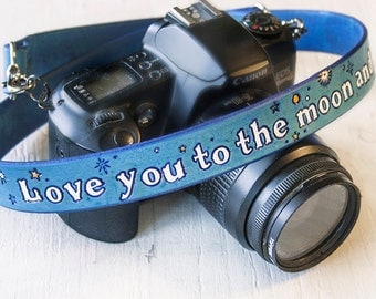 Custom Leather Camera Strap - I Love You to the Moon and Back - Blue and White Celestial - Handmade Handpainted by Mesa Dreams - Anniversary