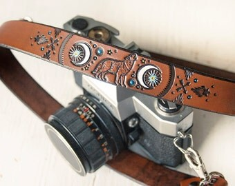Custom Leather Camera Strap - Coyote Moon - Made to Order by Mesa Dreams - Boho Southwestern Moon Phases - Spirit Animal