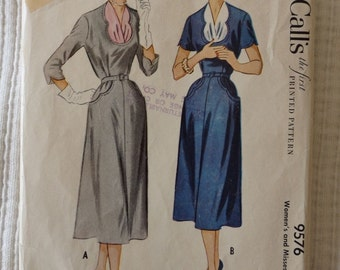 Vintage 1950s McCalls 9576 Dress Sewing Pattern with Vestee Rare Size 14