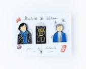 PRE ORDER Sherlock Holmes and Doctor Watson Enamel Pin Set