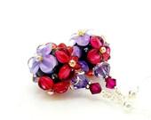 Cranberry Purple Earrings, Floral Earrings, Lampwork Earrings, Glass Bead Earrings, Glass Earrings, Dangle Earrings, Beadwork Earrings