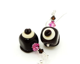 Chocolate Candy Earrings, Lampwork Earrings, Glass Earrings, Glass Bead Earrings, Valentine Earrings, Beadwork Earrings, Floral Earrings