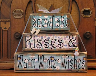 Winter Decor, Winter  Sign, Christmas Sign, Snowman Sign, Winter Decoration, Snowflake Kisses and Winter Wishes,  Word Blocks Sign
