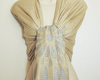 Clearance - Unique Elegant Beige Paisley Pashmina Scarf, Shawl, Wrap, Gift, Wedding, Favor, Bride, Bridesmaids Gifts, Accessories