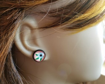 Tattoo Style Flower Earrings