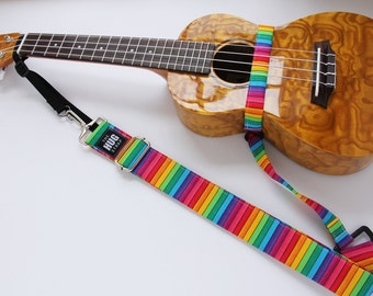 Ukulele Strap, The HUG Strap, No need for Strap Buttons, Rainbow Stripes, Hands Free Strap