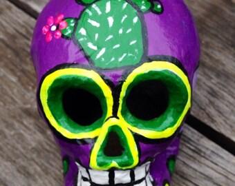 Purple cactus Day of the Dead Paper Mache Sugar Skull