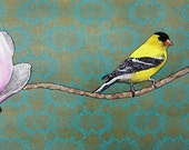 Channing--2d mixed media goldfinch and magnolia painting