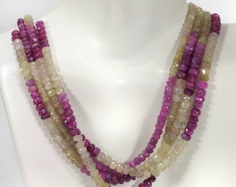 ON SALE Umba Sapphire Rondelles Faceted Multicolor Rondels Oyster Grey Raspberry Maroon Earth Mined Precious Stone Grade B - 4 Inch Strands