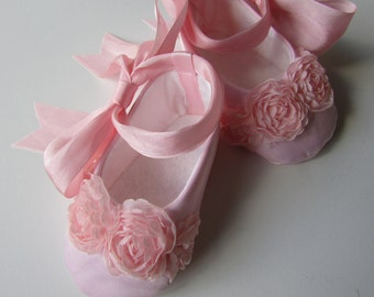 Baby Girl Shoes . Pink Satin Ballet Slippers . Infant Ballet Flats . Dress Shoes . Baby Ballerina . Silk, Satin, and Roses