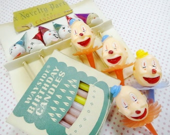 Creepy Clowns Vintage Birthday Party Cupcake Decorations Candles Plastic Spun Cotton Picks Lot
