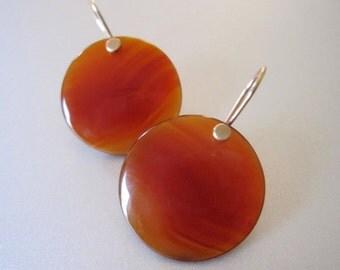 Carnelian Red Agate Discs Solid 14k Gold Earrings