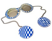Groovy Vintage 60s 70s Op Art Sunglasses with Chains and Circle Discs / Psychedelic Blue and White / Sun Glasses as seen on the Ellen Show