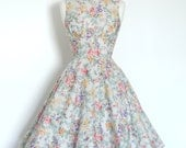 Pale Grey Floral Cotton Lawn Swing Dress - Made by Dig For Victory