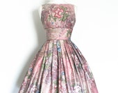 Deep Rose Pink Floral Cotton Prom Dress - Made by Dig For Victory