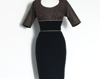Black Wool Pinstripe & Brown Check Pencil Dress - Made by Dig For Victory