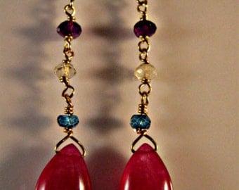 Multi gemstone dangle earrings,raspberry chalcedony earrings,drop earrings,gemstone earrings,birthstone earrings,raspberry earrings,gemstone