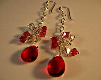 Ruby Red Earrings,cluster earrings,dangle earrings,drop earrings,ruby earrings,red earrings,crystal earrings,silver earrings,ruby red quartz