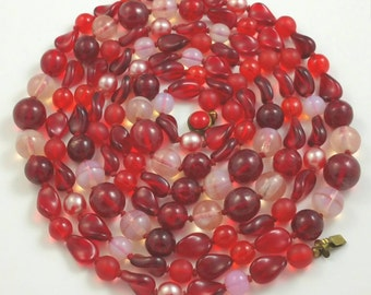 """West Germany Ruby Red Glass Opera Length Necklace 60"""""""