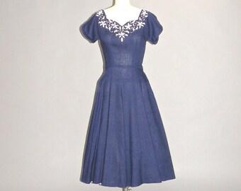 1940s Dress, 40s Swing Dress, Vintage 1940s Womens Clothing Beaded Day Dress