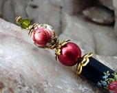 Red Floral Hair Stick Red Glass Pearl Japanese Tensha Flower Hairstick with Green Accents Oriental Hair Accessories - Tasha