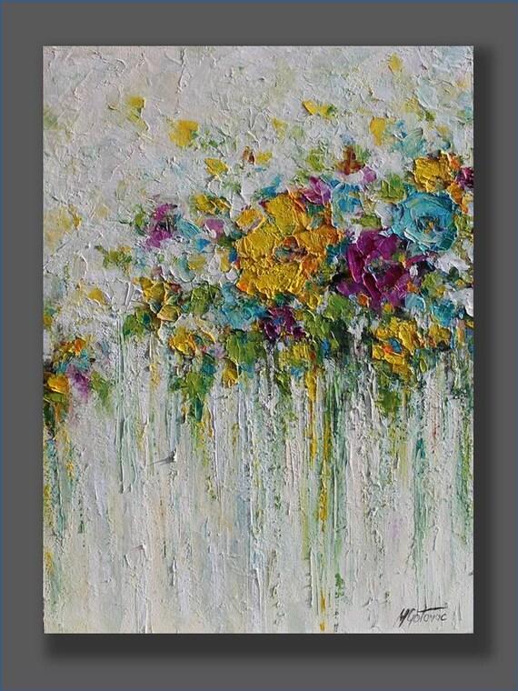 Peinture abstraite acrylique fleurs peinture originale for Comprar cuadros bonitos