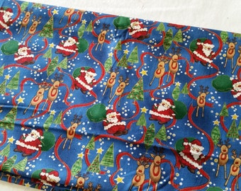 Santa and Reindeer fabric - remnant