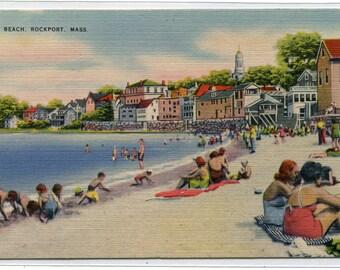 Beach Scene Rockport Massachusetts 1940s linen postcard