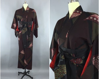 Vintage 1960s Silk Kimono Robe / 60s Wedding Dressing Gown / 1950s Lingerie / 50s Art Deco / Formal Black & Red Floral