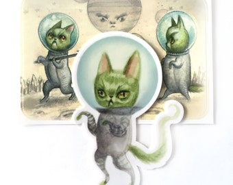 Caturn Alien Sticker Set  by Mab Graves Space Love